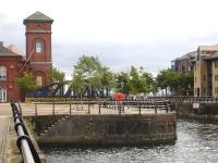 The remaining landward section of the former railway swing bridge, located next to <I>The Pumphouse</I> at the end of Gloucester Place, Swansea. [See image 44055]<br><br>[David Pesterfield&nbsp;01/08/2013]