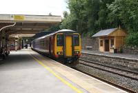 156497 at Matlock on 7 August with an East Midlands service from Beeston.<br><br>[Bruce McCartney&nbsp;07/08/2013]
