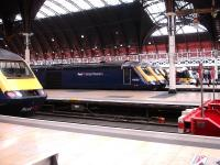 A mid morning view across the blocks at Paddington on 9 August showing most platforms occupied. FGW 43094 and 43092 stand in the foreground, with two more HSTs, plus Heathrow Express, Heathrow Connect and FGW Turbo units also present.<br><br>[David Pesterfield&nbsp;09/08/2013]