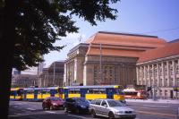 Leipzig Hauptbahnhof looks more like a palace than a railway station. Just about every mode of land transport - car, tram, bus, cycling, walking and main-line railway - are in evidence here on 6th July 2013.<br><br>[David Spaven&nbsp;06/07/2013]