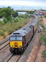 West Coast 57315 leads a Compass Tours excursion from Saltburn to Dundee through Kirkcaldy on 10 August with 47826 bringing up the rear.<br><br>[Bill Roberton&nbsp;10/08/2013]