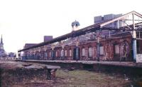 A 1980s photograph showing platform 1 at Manors North. The lines through platforms 1 and 2 ran through to join the ECML just beyond Manors East in the background. The station clock tower still stands above the station building. [See image 18389]<br><br>[Ian Dinmore&nbsp;//]