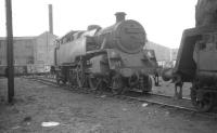 BR Standard class 4 2-6-4T no 80025 in the sidings alongside Ayr shed in April 1966. The locomotive is recorded as being withdrawn from 67A Corkerhill 4 months later and cut up at Shipbreaking Industries, Faslane, in October that year. <br><br>[K A Gray&nbsp;10/04/1966]