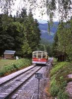 The Oberweissbacher Bergbahn's sloping split-level passenger coach approaches the funicular's hill terminus at Lichtenhain on 29th June 2013. <br><br>[David Spaven&nbsp;29/06/2013]