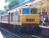 Hymek D7076 with a train at Bury Bolton Street on 6 July 2013 during the ELR diesel gala. <br><br>[Colin Alexander&nbsp;06/07/2013]