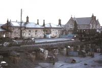 The coal drops at Hexham, looking east towards the station on a wet day in 1975.<br><br>[Ian Dinmore&nbsp;//1975]