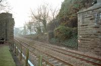 View west along the D&A towards Broughty Junction in 1996. The abutments supported the bridge that, until 1967, carried the Caledonian direct line to Forfar across the formation.<br><br>[Ewan Crawford&nbsp;//1996]