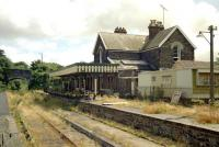 The former station at Torrington in 1989, some 7 years after final closure of the line (the passenger service had ended in 1965). The building is now <I>The Puffing Billy</I> railway themed pub. [See image 19925]<br><br>[Ian Dinmore&nbsp;//1989]