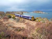 Nearing journey's end on the Kyle line, a train passing Garnmore on 25 April 2013.<br><br>[Ewan Crawford&nbsp;25/04/2013]