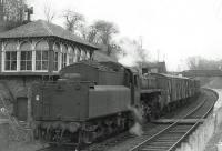 Standard mogul 77009 shunting the pick up goods at Clarkston in 1963.<br><br>[John Robin 18/04/1963]