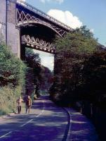 The railway bridge at Millers Dale, Derbyshire, seen from the road in September 1963. [See image 44309]<br><br>[John Thorn&nbsp;/09/1963]