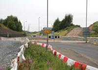 The roundabout at Hardengreen on Sunday 25 August. Looking north along the A7, with preparations for the new rail bridge continuing.<br><br>[John Furnevel&nbsp;25/08/2013]