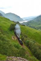 Black 5 No 45407 with the return working of <I>The Jacobite</I> photographed on 23 August 2013 between the tunnels at Creag Ghobhar west of Glenfinnan. In the distance are Loch Eilt and Sgurr na Paite.<br><br>[John Gray&nbsp;23/08/2013]