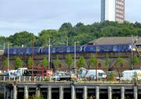 A westbound train on the north bank of the Clyde near Yorkhill on 16 August 2013.<br><br>[Colin Miller&nbsp;16/08/2013]