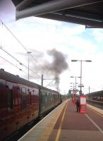 Looks like the Smoke Monster is ready for a nibble [see image 26281]. 44932 leaves Rugby platform 6 on 30 August, southbound for London.<br><br>[Ken Strachan&nbsp;30/08/2013]