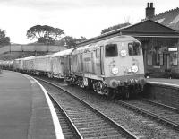 Hunslet Barclay 20904 leads the Chipmans weedkiller train through Aberdour station on 1 August 1989.  20901 is out of sight at the rear of the train.<br><br>[Bill Roberton 01/08/1989]