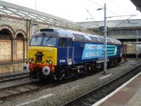 Freshly painted in DRS livery, 57308 is stabled near Crewe platform 12 on 30 August 2013 whilst on 'Thunderbird' stand-by duty.<br><br>[David Pesterfield&nbsp;30/08/2013]