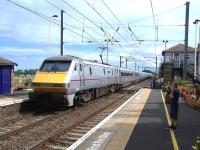 The 13.00 East Coast Edinburgh Waverley - London Kings Cross service speeds through Chathill on 30 August 2013.<br><br>[Colin Alexander&nbsp;30/08/2013]