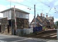 The station building and signal box at Chathill on 30 August 2013 seen looking north from the level crossing.<br><br>[Colin Alexander&nbsp;30/08/2013]