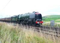 <I>Duchess of Sutherland</I> passing Abington on 6 September with the 75th Anniversary special from Sheffield to Perth.<br><br>[Jim Peebles&nbsp;06/09/2013]