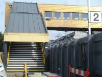 The platform 2 staircase for the new footbridge running from the (under construction) replacement main station building at Wakefield Westgate on 4 September 2013.<br><br>[David Pesterfield&nbsp;04/09/2013]