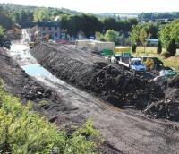 A Sunday morning view south over the ongoing works at Gorebridge on 8 September.<br><br>[John Furnevel&nbsp;08/09/2013]