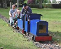 Kirkcaldy Model Engineering Society has operated a dual gauge (5'�and 7 1/4') railway in the town's Beveridge Park since 1991, with services every second Sunday in summer.� Bob the Driver is in charge of an 0-4-0PH (petrol hydraulic) on 8 September. <br><br>[Bill Roberton&nbsp;08/09/2013]