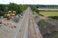 The view south towards Swindon over the redoubling works at Oaksey on 7 September [see image 44507].<br><br>[Peter Todd&nbsp;07/09/2013]