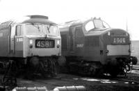 D1835 and D6837 stand in the shed yard at Motherwell in January 1971.<br><br>[John Furnevel&nbsp;11/01/1971]