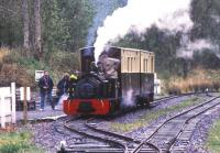 Scene at Henllan station, West Wales, on the 2ft gauge Teifi Valley Railway in the summer of 1990. Locomotive is Hunslet Quarry 0-4-0ST <I>Alan George</I> (606/1894).<br><br>[Ian Dinmore&nbsp;/08/1990]