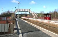 Platform view at Cleland, North Lanarkshire, looking west on a sunny March day in 2006. Cleland is served by trains on the Edinburgh - Glasgow Central via Shotts line.<br><br>[John Furnevel&nbsp;20/03/2006]