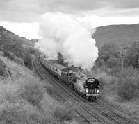 Saturday 30th September 1978 had been a bright, if not sunny day, although by the time Merchant Navy Pacific 35028 <I>Clan Line</I> approached Ais Gill Summit with the southbound�<I>Lord Bishop</I>, it was getting quite dull. This was the last shot of the day.<br><br>[Bill Jamieson 30/09/1978]