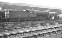 Gresley V2 2-6-2 no 60842 stands in the shed yard at Gateshead in the early sixties. The locomotive was withdrawn from York in October 1962 and cut up at Darlington Works by the end of that year.<br><br>[K A Gray&nbsp;//]
