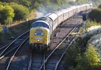 55022 <I>Royal Scots Grey</I> passes Inverkeithing East Junction with an SRPS excursion from Inverurie to Oban on 14 September. 37516 is on the rear of the train.<br><br>[Bill Roberton&nbsp;14/09/2013]