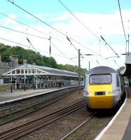 A southbound East Coast HST calls at Durham in May 2012.<br><br>[Ian Dinmore&nbsp;30/05/2012]
