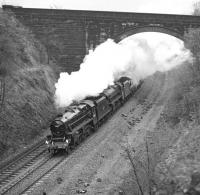 LNER Society Railtours�<I>The South Yorkshireman</I>�tour of 29th April 1978 forges through Newlay cutting on the west side of Leeds. The special, which originated at London Euston, was powered by Black 5s 45407 and 44932 between York and Carnforth. The magnificent brick arch with squared stone spandrels and wingwalls clears the formerly four-track Midland main line in one leap but carries no more than the access track into the former Rodley sewage works (now a nature reserve). <br><br>[Bill Jamieson&nbsp;29/04/1978]