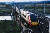 A Glasgow bound Pendolino crossing the Esk just north of Floriston late in the afternoon of 14 April 2008.<br><br>[Ewan Crawford&nbsp;14/04/2008]