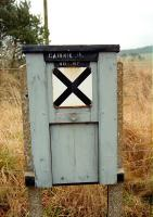 Last remnant of Cairnie Junction. A surviving trackside box near the station site, photographed on 1 February 1997.<br><br>[Ewan Crawford&nbsp;01/02/1997]
