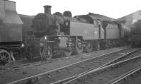 Ivatt 2-6-2T no 41220, photographed in October 1961 on Crewe North shed.<br><br>[K A Gray&nbsp;01/10/1961]
