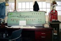 Interior of Crediton signal box in 1991. [See image 43525]<br><br>[Ian Dinmore&nbsp;//1991]