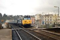 A Class 50 entering Dawlish with a Paignton - Waterloo service in December 1985.<br><br>[Ian Dinmore&nbsp;/12/1985]