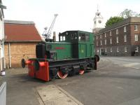 <I>Rochester Castle</I> a 4wDM shunter built in 1955 by F.C. Hibberd of London photographed in Chatham Dockyard on 17 September 2013.<br><br>[Peter Todd&nbsp;17/09/2013]