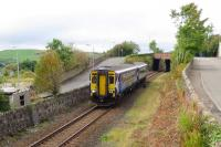 The 09.41 Girvan to Kilmarnock, photographed shortly after leaving Maybole Station on 23 September.<br><br>[Colin Miller&nbsp;23/09/2013]