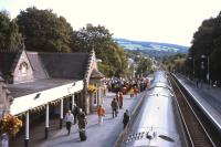 The 09.41 Inverness-Edinburgh pauses at Pitlochry on 9th�September while a ceremony to mark the 150th�anniversary of the opening of the Highland Main Line proceeds on the Up platform.<br><br>[David Spaven&nbsp;09/09/2013]