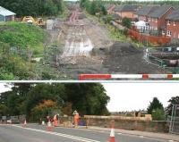 Update on works at Newtongrange on 27 September 2013. Above is the view south over the station site from the A7 road bridge. In the lower picture the parapet on the north side of the bridge is receiving attention.<br><br>[John Furnevel&nbsp;/09/2013]