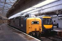 Deltic�<I>Royal Scots Grey</I>�rests at�Aberdeen's Platform 2 on 15th�September after arrival at the head of a charter train. The 12.47 ScotRail service to�Edinburgh�stands alongside.<br><br>[David Spaven&nbsp;15/09/2013]