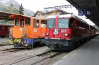 <I>Every station needs a shunter.</I> Or so it seems in Switzerland. RhB 112 is kept busy at St. Moritz on 16 September making up trains for various destinations, including Tirano in Italy. RhB 629 <I>Tiefencastel</I> is about to leave with a <I>Regio Express</I> for Landquart via Klosters. <br><br>[Mark Bartlett&nbsp;16/09/2013]