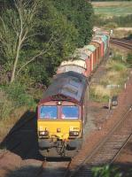 66103 eases out of Inverkeithing Yard on 29 September with redundant timber wagons on their way from Elgin to Doncaster Belmont Yard.<br><br>[Bill Roberton&nbsp;29/09/2013]