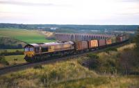 66103 leaves Culloden Viaduct on its way south with a train of withdrawn timber wagons�on 28 September. The wagons were being taken to Doncaster for scrapping.<br><br>[John Gray&nbsp;28/09/2013]