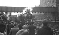 Scene at Aberdeen station on 25 March 1967 as Black 5 no 44997 together with A4 no 60009 <I>Union of South Africa</I> come off BR <I>Grand Scottish Tour No 1</I> after bringing in the 18 coach special from Perth [see image 22971].  <br><br>[K A Gray&nbsp;25/03/1967]